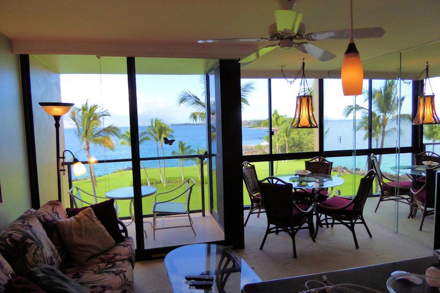 View of Kihei Surfside unit 509 dinette and lanai view